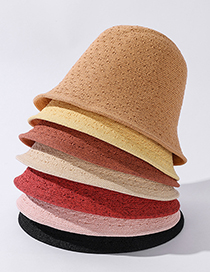Fashion Light Pink Hollow Solid Color Fisherman Hat