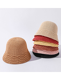 Fashion Yellow Solid Color Stitching Wave Pattern Foldable Hat