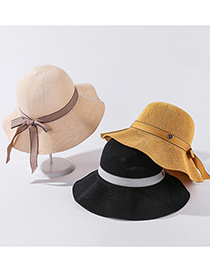 Fashion Caramel M Standard Solid Color Large Rim Sunhat