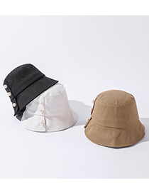 Fashion Khaki Pure Color Pearl Fisherman Hat