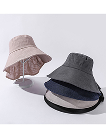 Fashion Navy Cotton And Linen Dual-purpose Foldable Sun Hat