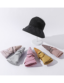 Fashion Pink Multifunctional Large Edge Stitching Bow Knot Sun Hat