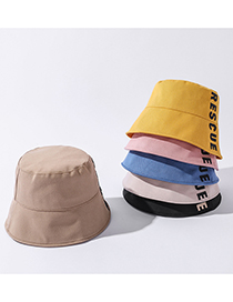 Fashion Blue Letter Solid Color Cotton Fisherman Hat