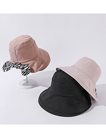 Fashion Beige Pure Color Sun Hat With Zebra Pattern Bow