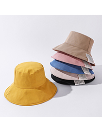Fashion Pink Big Brim Solid Color Patch Fisherman Hat