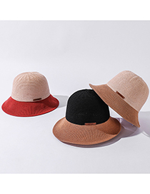 Fashion Yellow Two-color Stitching Leather Label Sunscreen Fisherman Hat