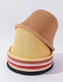 Fashion Caramel Linen Solid Color Curled Rim Breathable Sunscreen Fisherman Hat