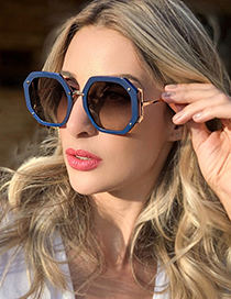 Fashion Blue/gradient Gray Polygon Big Frame Sunglasses