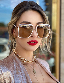 Fashion Transparent Tea/gradient Tea Large Frame Sunglasses