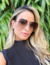 Fashion Gold/gradient Tea Metal Diamond Large Frame Sunglasses