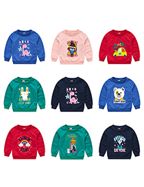 Fashion Navy Blue 9 Childrens Cartoon Pullover Sweater 1-7 Years Old