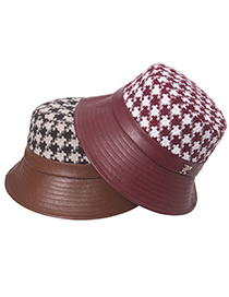 Fashion Brown Houndstooth Fisherman Hat