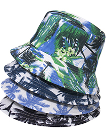 Fashion Navy Blue Printed Coconut Tree Double-sided Wearing Sun-proof And Sun-shading Fisherman Hat