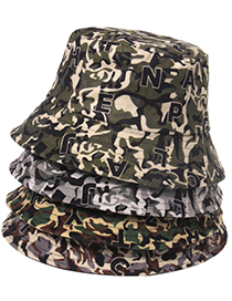 Fashion Brown Camouflage Short Brim Visor Letter Fisherman Hat
