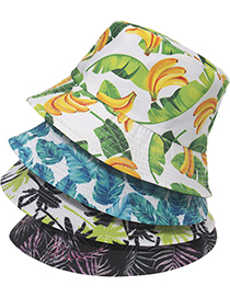 Fashion Purple Printed Plant Pattern Fisherman Hat