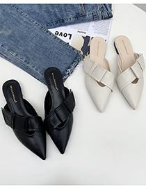 Fashion Off White Flat-bottomed Slippers With Bow And Pointed Toe