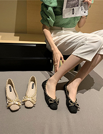 Fashion Apricot Flat Bow Chain Shoes