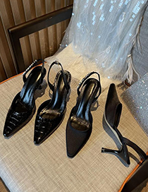 Fashion Stone Pattern Black Stiletto Shoes With Rhinestone Letters And Pointed Toe