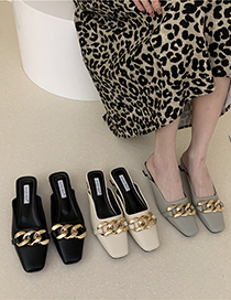 Fashion Apricot Metal Buckle Square Toe Half Toe Cap High Heels