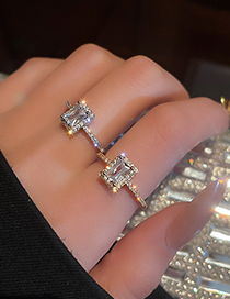 Fashion Gold Color Real Gold Electroplated Diamond Zircon Open Ring