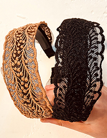 Fashion Brown Lace Lace Fabric Hollow Headband