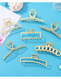 Fashion Hollow Round Gripping Clip Oversized Metal Geometric Hair Grab