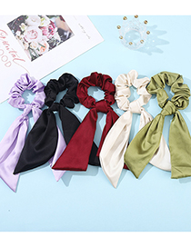 Fashion Gray Solid Color Ribbon Silk Scarf Large Intestine Hair Ring