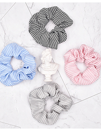 Fashion Bean Paste Pink Houndstooth Fabric Check Hair Tie