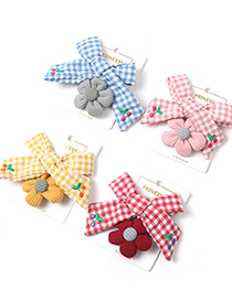 Fashion Pink Knitted Flower Bow Hairpin
