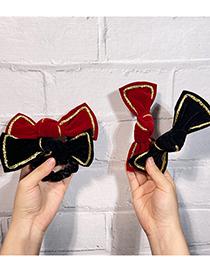 Fashion Red Hair Rope Gold Velvet Bow Hair Tie