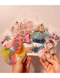 Fashion Crystal Girl Net Yarn Bowknot Childrens Hairpin Combination Princess Crown Ice And Snow
