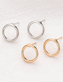 Fashion Silver Color Alloy Geometric Hollow Round Earrings