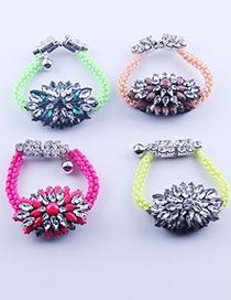 Fashion Q Colorful Gemstone And Diamond Pearl Bracelet