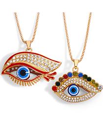 Color Ojos Grandes Diamantes De Imitación Pestañas Largas Collar De Ojo De Demonio