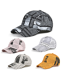 Fashion Newspaper Duck Tongue Beige Newspaper Pattern Sunscreen Baseball Cap
