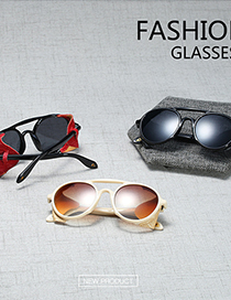Fashion C2 Bright Black/red Leather/all Gray Leather Sunglasses