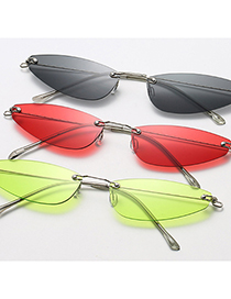 Fashion C03 Red Frameless Triangle Cat Eye Small Frame Ultralight Sunglasses