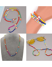 Fashion Section 1 Beaded Rice Beads Soft Pottery Peace Letter Necklace