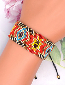 Fashion Color Pattern Color Matching Geometric Beaded Woven Rice Bead Bracelet