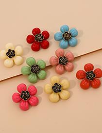Fashion Yellow Alloy Resin Flower Earrings