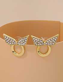 Fashion Gold Color Alloy Diamond Bow Ring Earrings