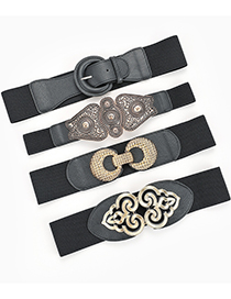 Fashion Serpentine Beige Oval Buckle Snake Pattern Corn Buckle Belt