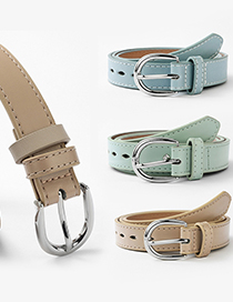 Fashion Light Blue 125cm Rivet Inlaid Solid Color Multi-size Belt