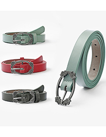Fashion Dark Green 125cm Metal Japanese Buckle Solid Color Multi-size Belt