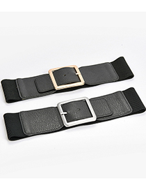 Fashion Black-gun Buckle Wide Elastic Belt With Pin Buckle