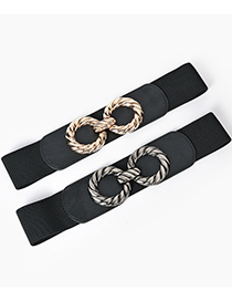 Fashion Black-gun Buckle Alloy Double Round Buckle Elastic Wide Waist Seal