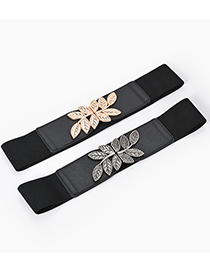 Fashion Black-gun Buckle Metal Leaf Elastic Elastic Girdle