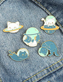 Fashion Cat 5 Cosmic Planet Space Cat Oil Dripping Alloy Brooch