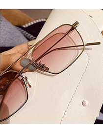 Fashion Golden Frame Tea Chips Small Frame Double Beam Metal Marine Sunglasses