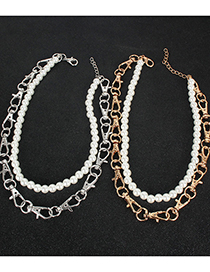 Fashion Golden Alloy Keychain Pearl Necklace